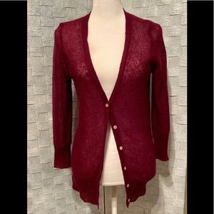 J.Crew Button Down Cardigan Medium Burgundy Color